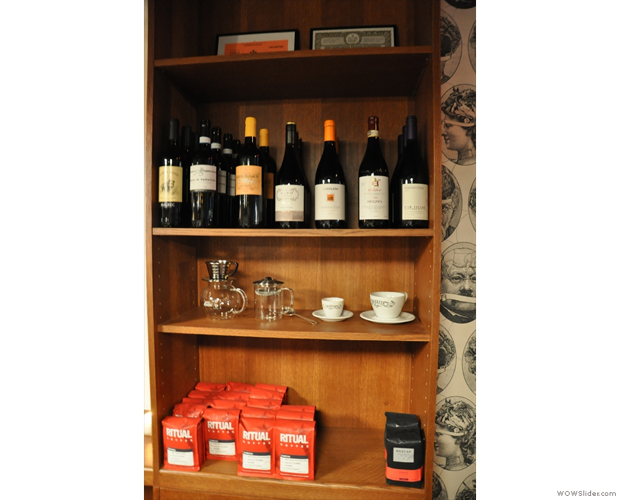 That shelf looks interesting... Coffee and wine, it seems.