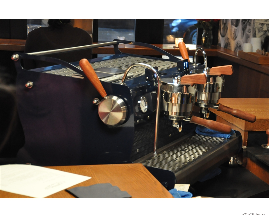 The espresso machine, a two-group Synesso, in detail.