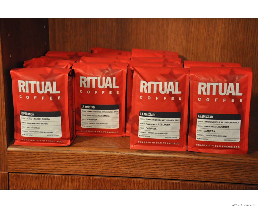 Some of the coffee roasted by Ritual, from San Francisco.