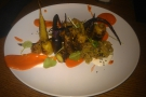 And here's my dinner... The Manhattan skyline rendered artfully in carrots?