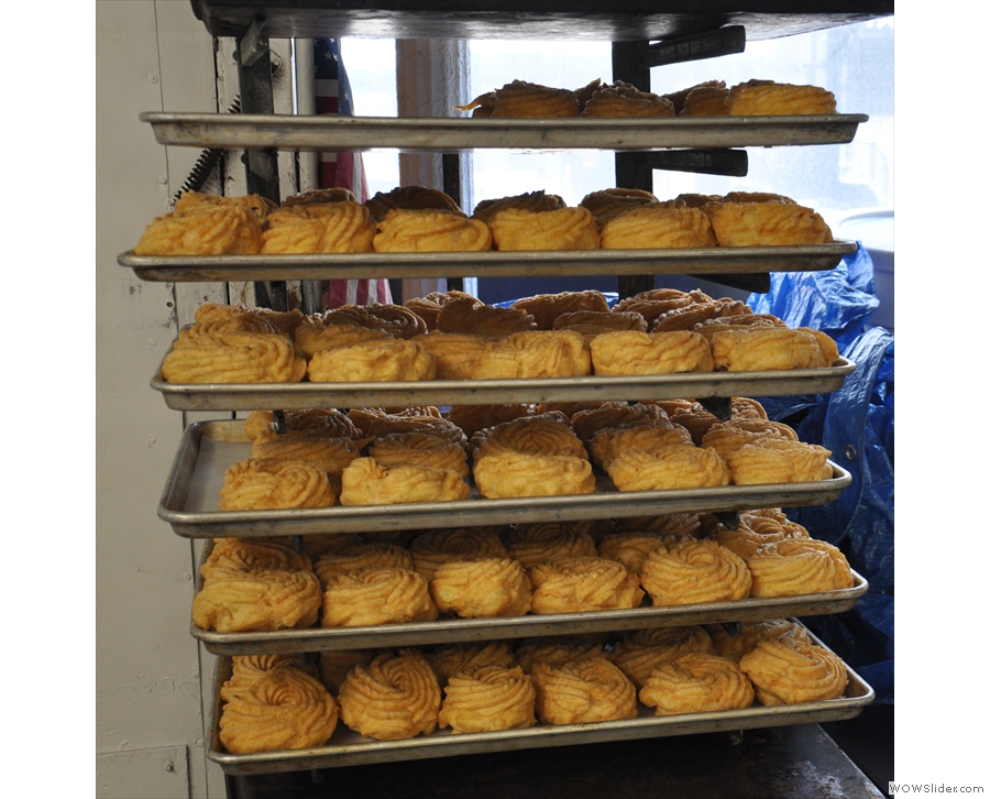 The St Joseph's Cakes are then left on racks to completely cool before filling.
