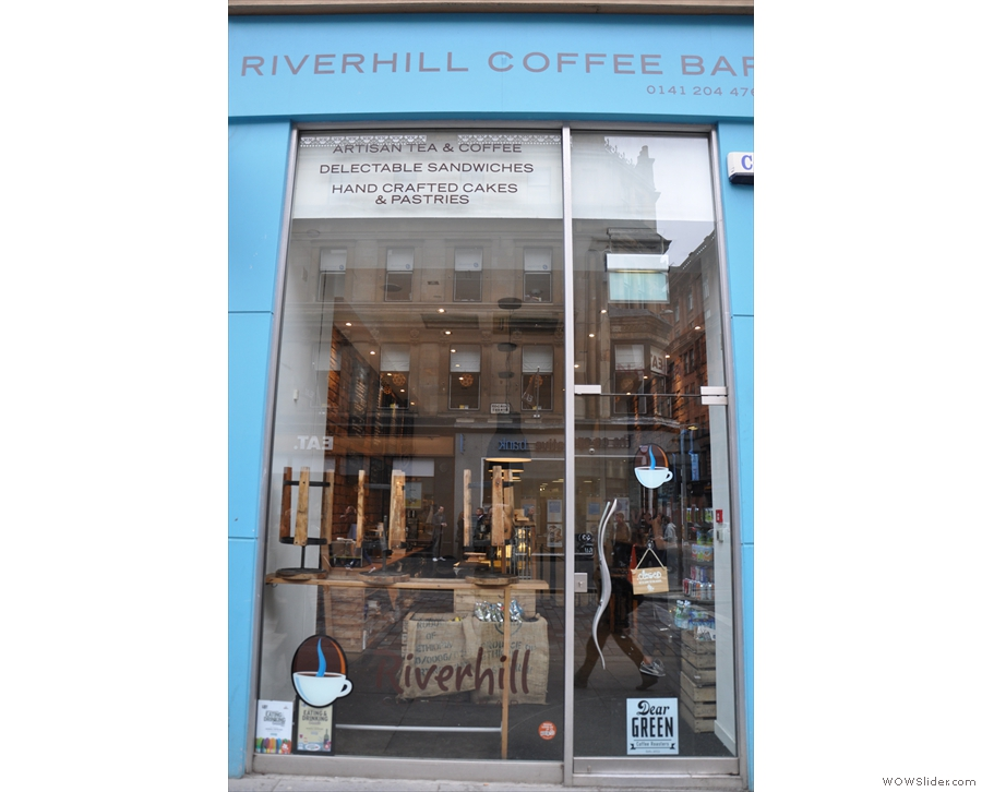 The Riverhill Coffee Bar on Gorden Street: floor-to-ceiling glass.