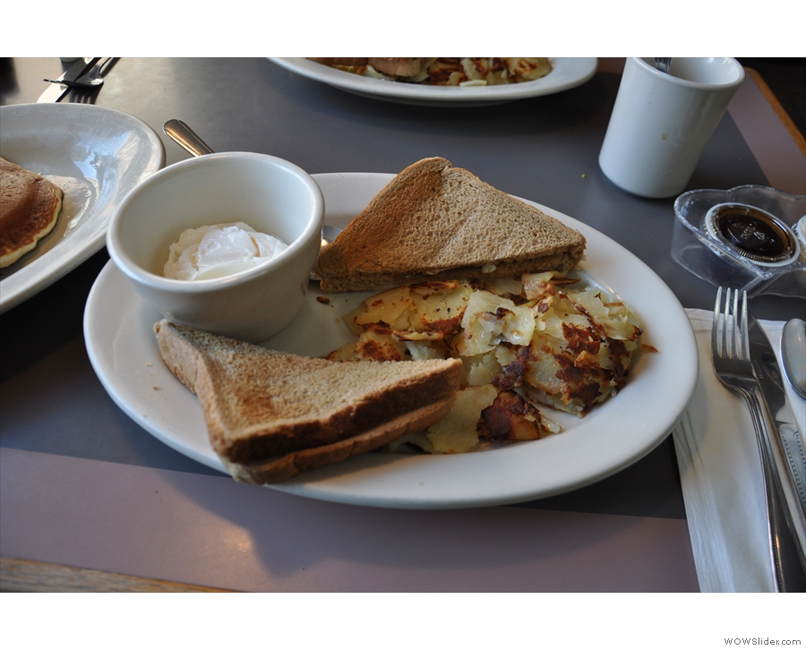 The main reason for our visit: breakfast! Eggs, home fries and wheat toast.