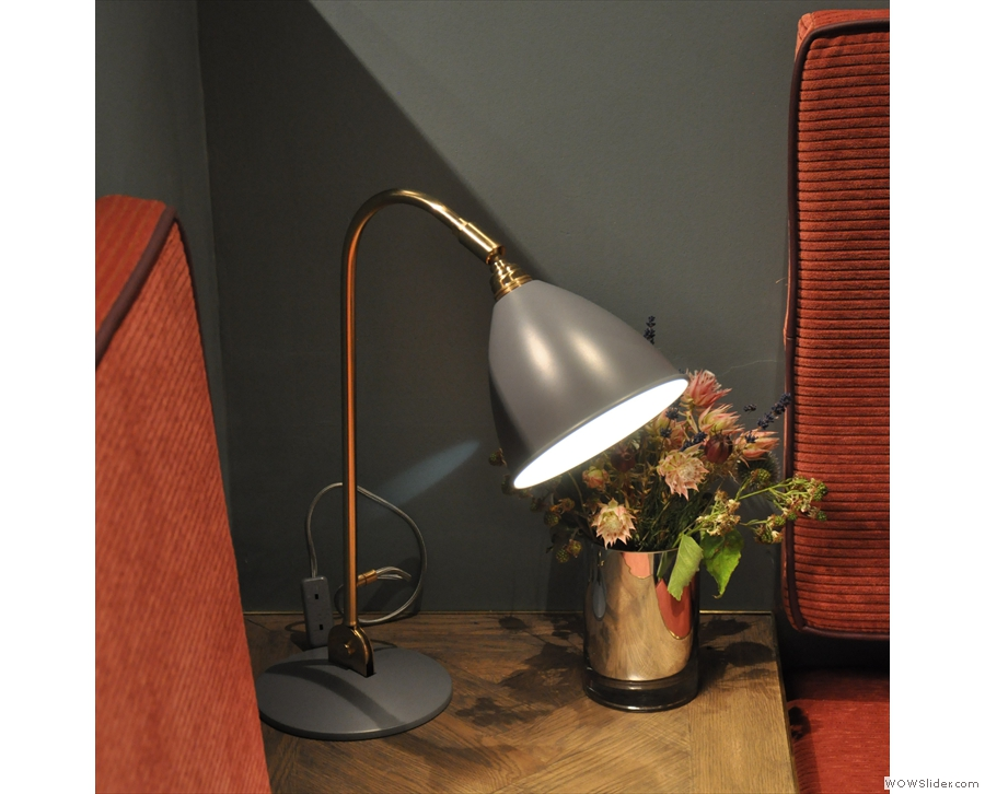 There are lots of great touches in the back, such as the desk lamps in the corners...