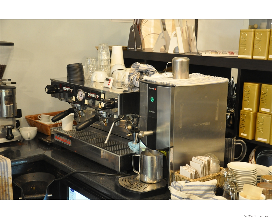 The all-important espresso machine, with grinder to the left and water heater for the tea-drinkers out there to the right.