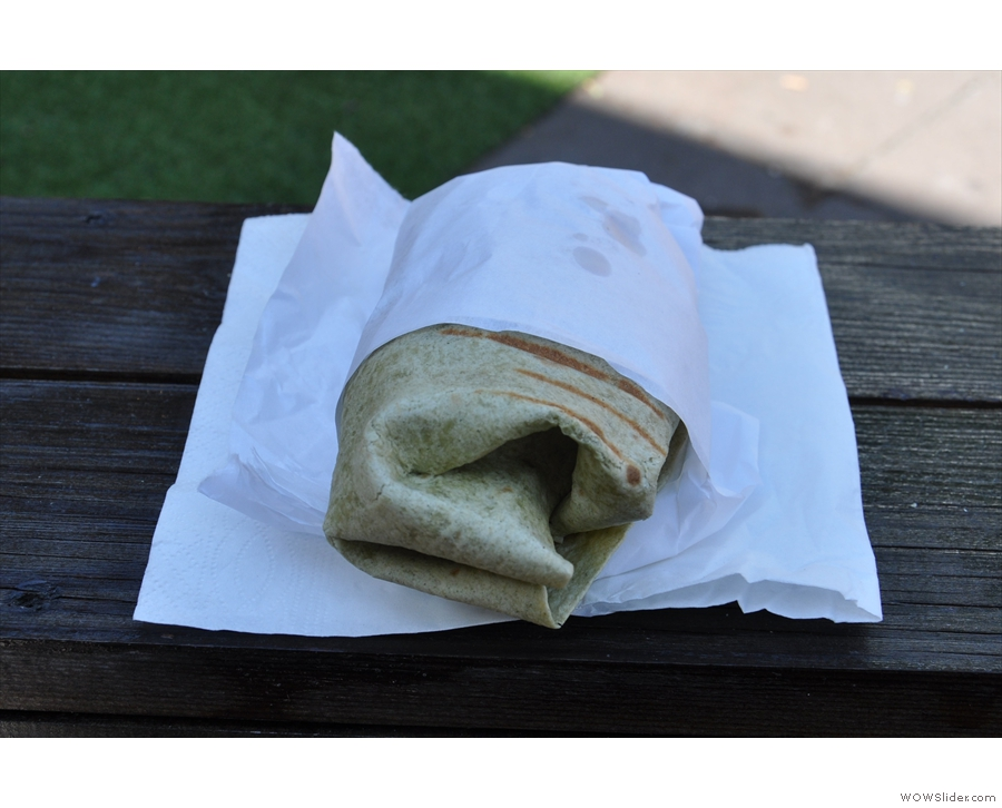 I had a lovely falafel spinach wrap.