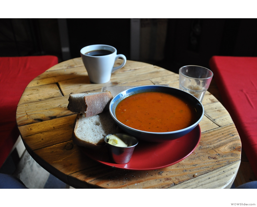 So, to business. My soup and coffee in the Mooch.