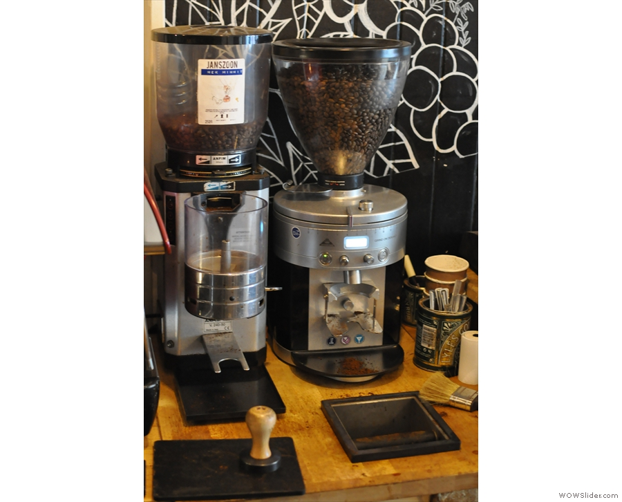The two grinders, one for the house-blend (Janszoon), one for decaf.