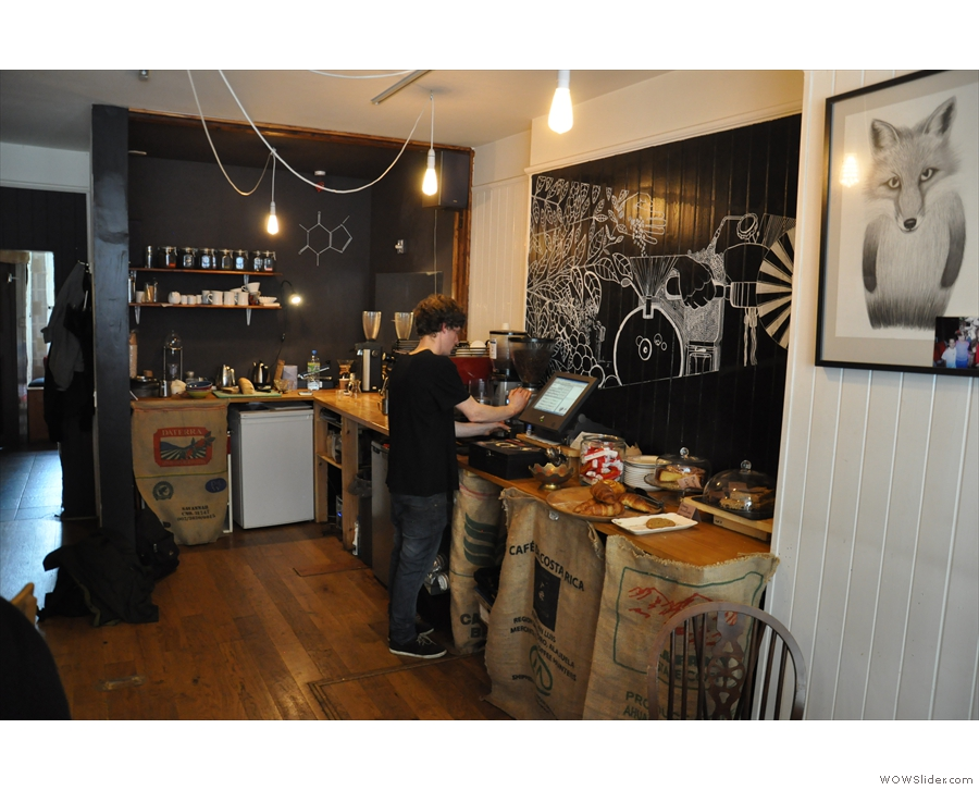The barista area at the back, Robbie at the controls.