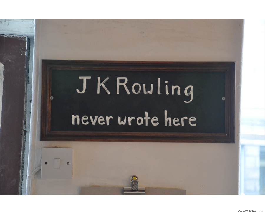 Ah, a subtle dig at the Elephant House (the Edinburgh Cafe where JK Rowling wrote the early Harry Potter novels)...