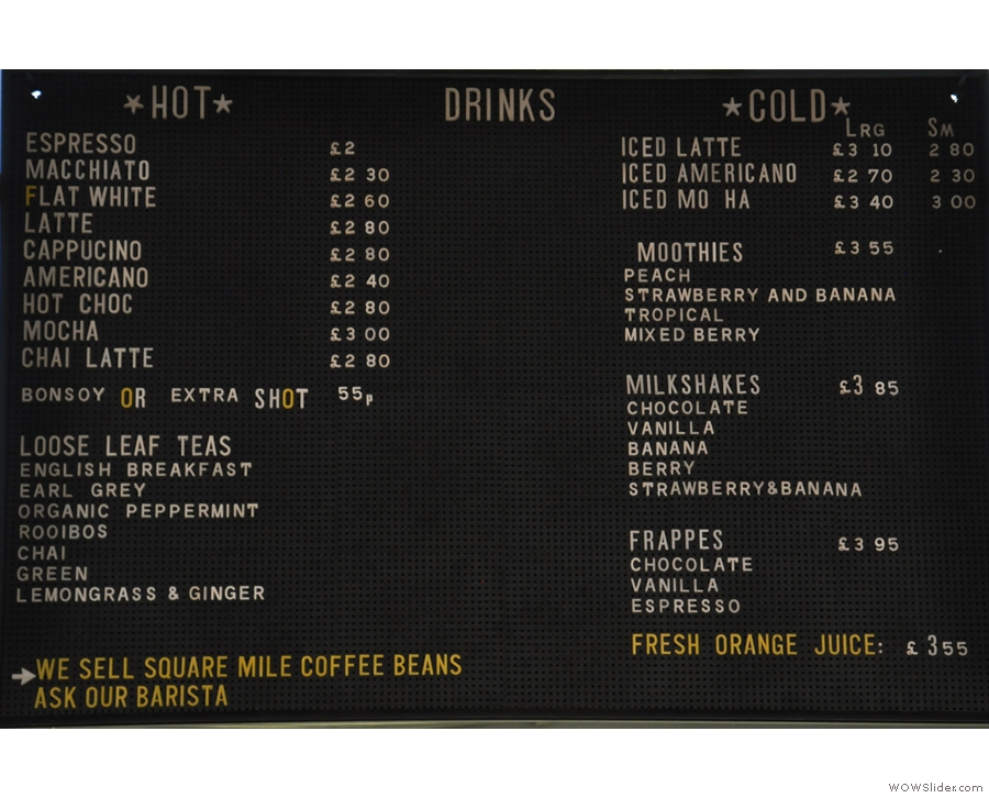 The drinks menu is pretty decent too.