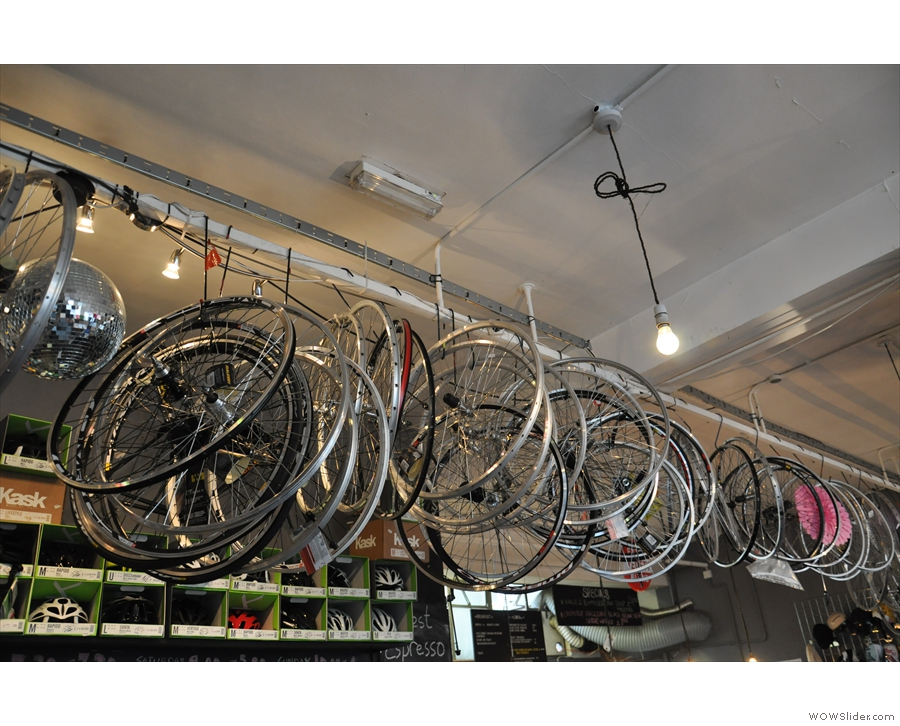 ... and bike wheels above the counter.