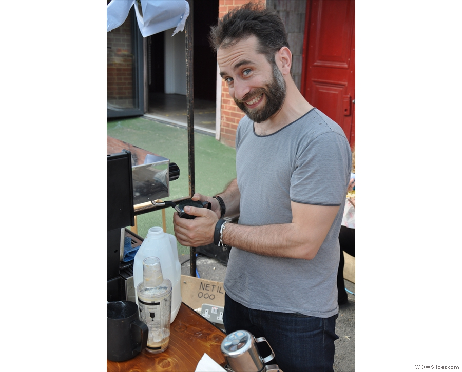 As we talked, Edy steamed some milk for another customer. Not exactly camera-shy, is he?