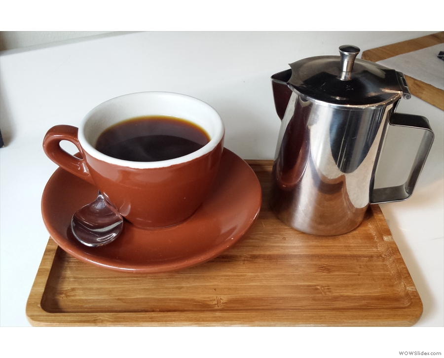 Now in the cup. It's a coffee which rewards patience: it tastes better & better as it cools!