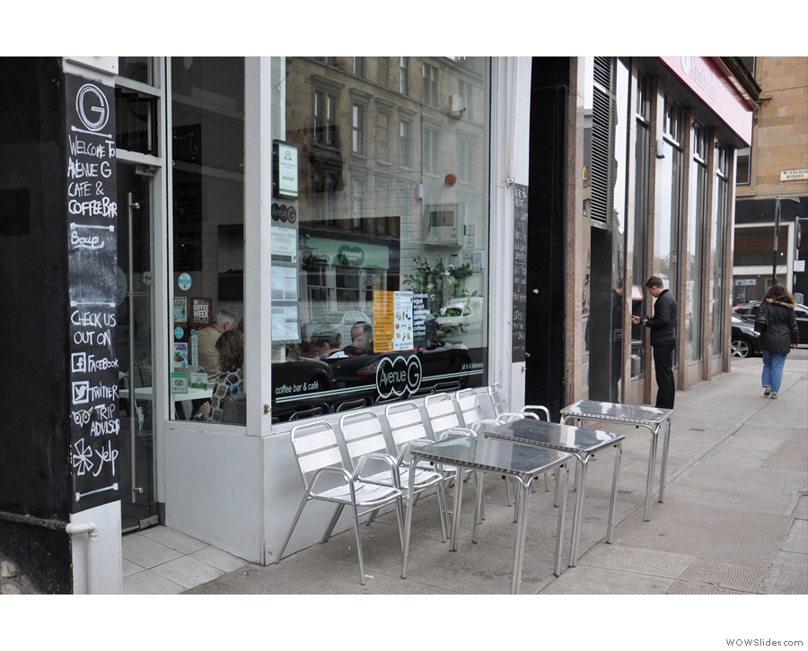 The outside seating on the pavement.