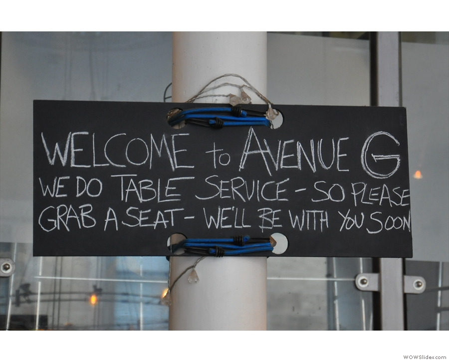 A welcome sign.