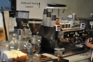 The epsresso machine is at the back on the left. But what's that? More seating? Where?