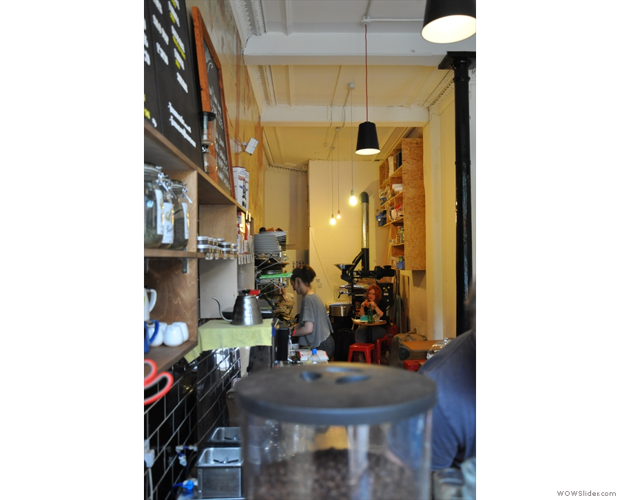 The grinder's view of Papercup, looking towards the back of the store...