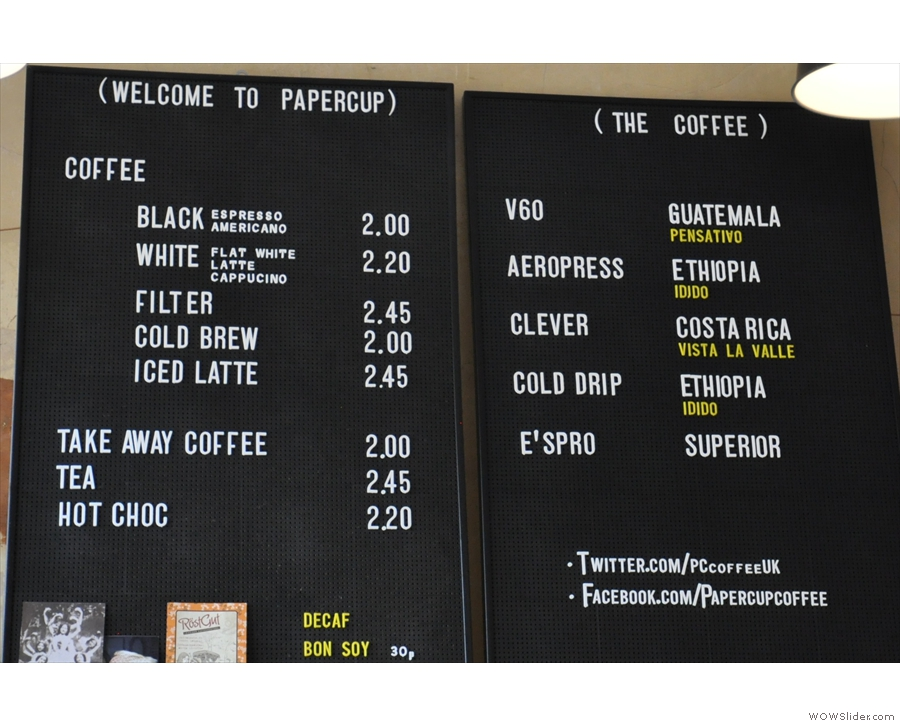 So, to the coffee menu, whilch is fairly comprehensive.