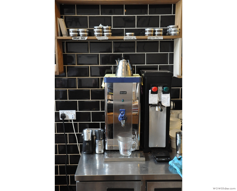 Filter, perhaps? Here's the boiler & grinder for filter coffee. With a fancy kettle, of course.