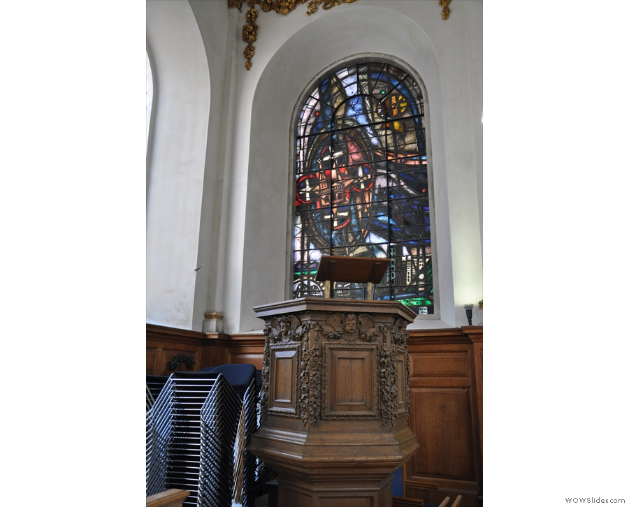 The pulpit occupies the other corner.
