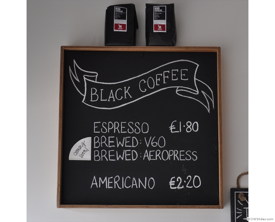 There's black coffee (espresso or pour-over; ignore the 'coming soon' tag)...