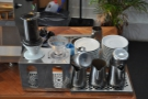 The V60 and Aeropress are at the end of the counter...
