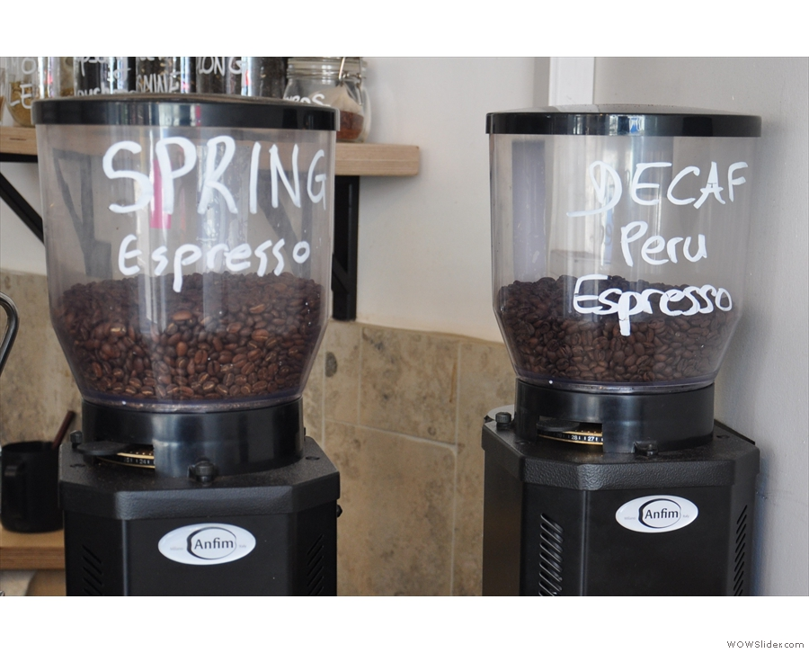 The two (espresso) grinders, with the Spring Espresso and decaf Peru.