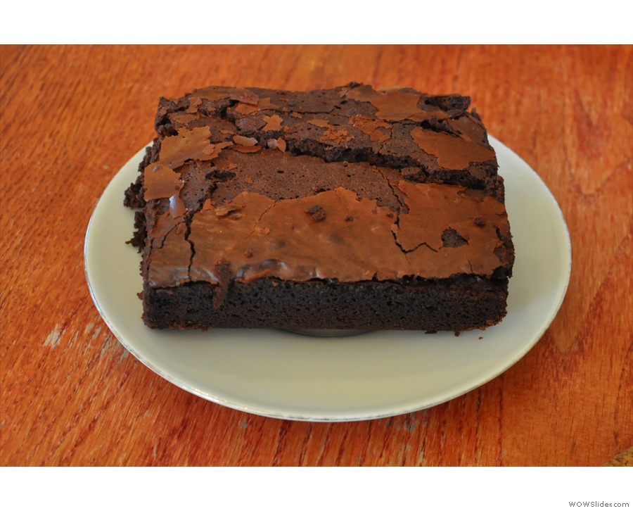 Cafe Watcher's gluten-free chocolate brownie. Very rich & chocolaty. And HUGE!