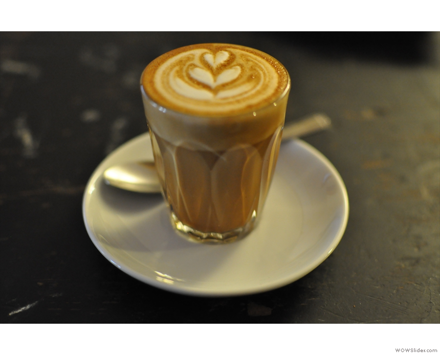 My piccolo, in focus this time. Beautiful latte art in a small space.