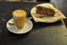 The result: my piccolo and banana & walnut cake. Both slightly out of focus...