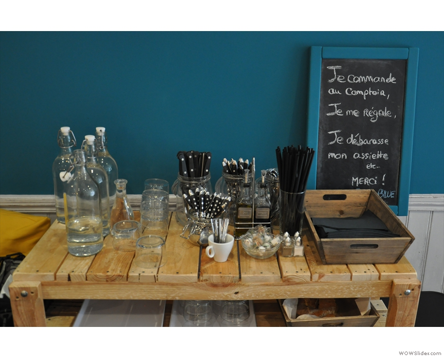 Help yourself to a carafe of water and a glass. And some cutlery.