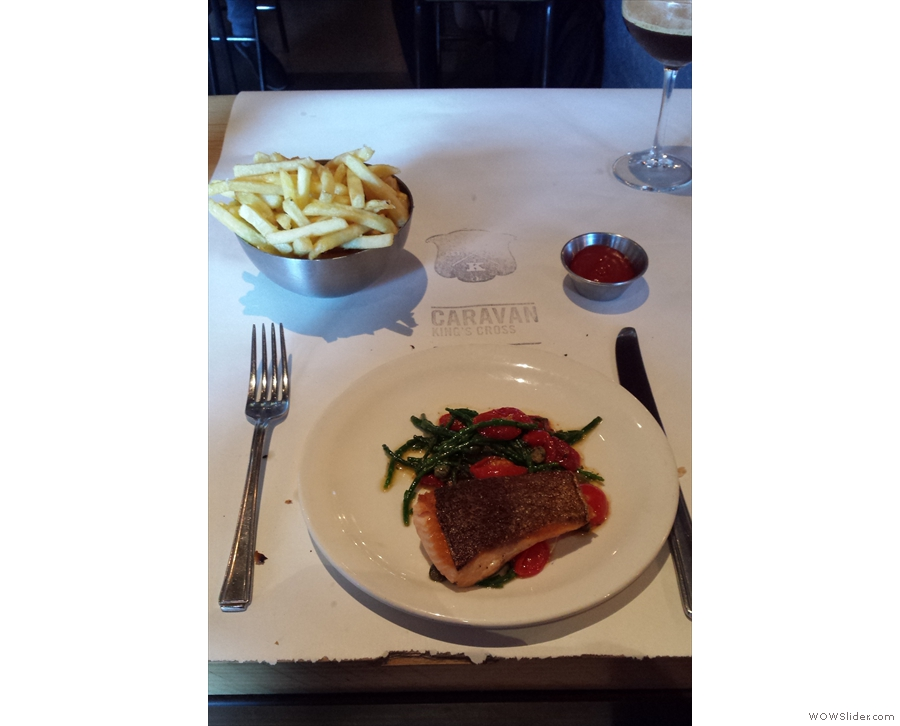 My main course; pan-seared sea trout with fries.