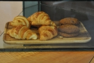 There's a small selection of cake, including these croissants and cookies.