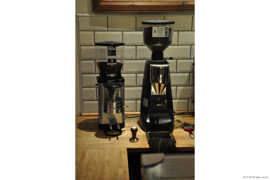 There are normally three grinders, but the third (for the guest blend) was off on its holidays while I was there