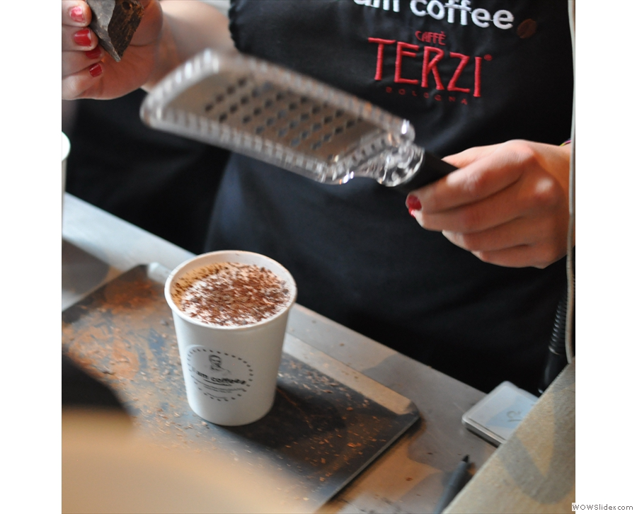 If you want chocolate on top, fresh chocolate is grated onto your drink there & then!