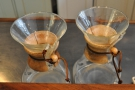 Hand-pour filter can be through either the Chemex...