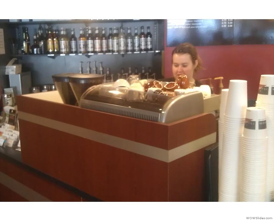 The espresso machine has its own little enclosure.