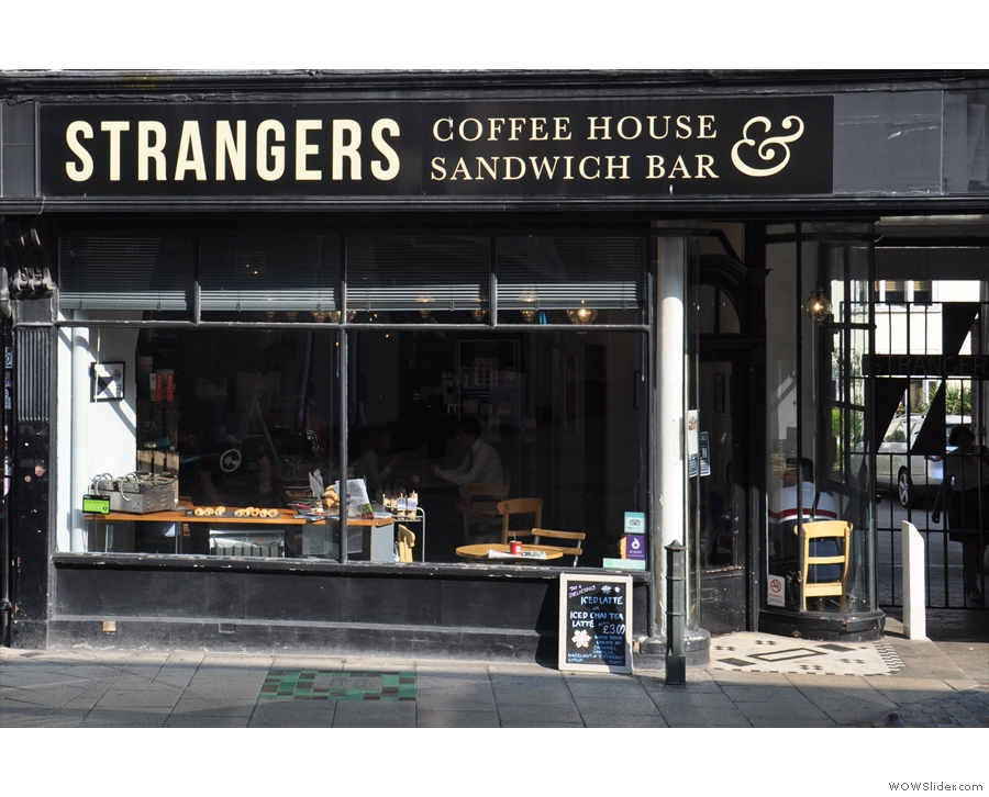 Strangers Coffee House on the sunny side of Norwich's Pottergate.