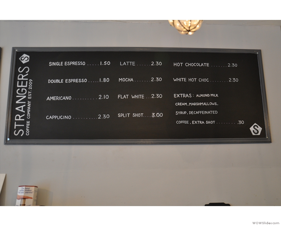 The concise coffee menu.