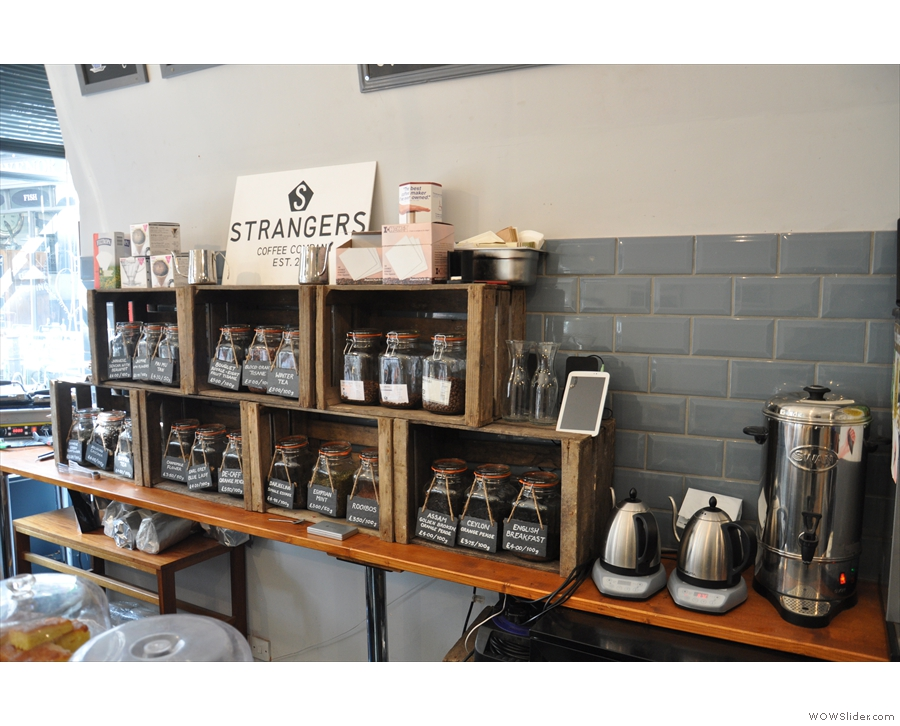 The kettles for the tea/pour-over are next to the tea...