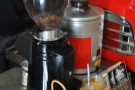 Two of the four espresso grinders (house-blend plus guest)...