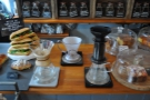 There's a choice of three methods: Chemex (left), Aeropress (right) & Clever Dripper (back).