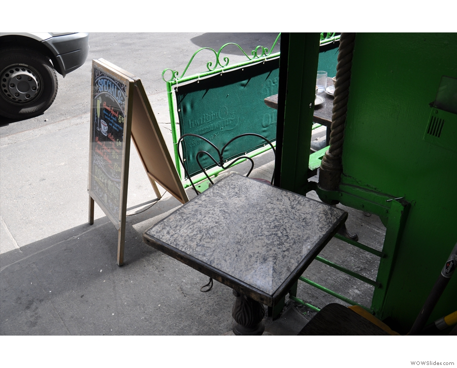 A shady outside seating option.