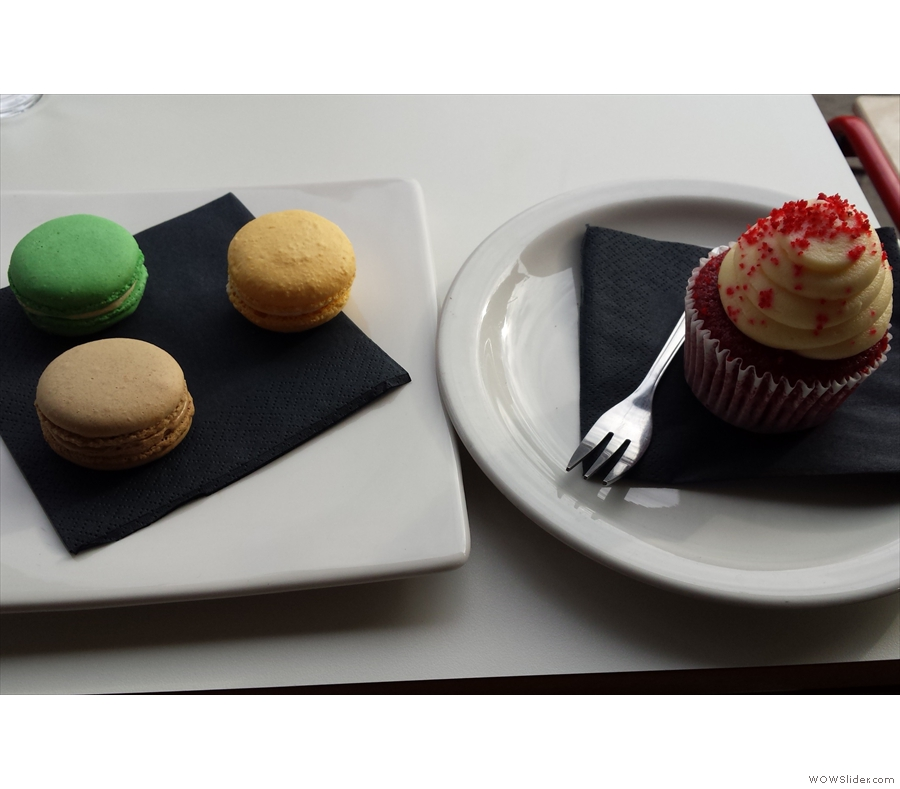 I was talked into sampling the fantastic macaroons which were truly excellent, while Andrew had the red velvet cupcake, a fitting end to a fantastic day.