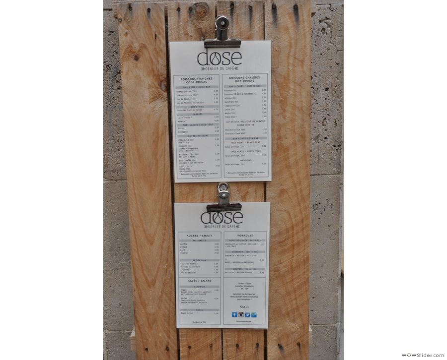 ... while the menus are also hung up outside.
