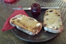 My fruit and nut bread, with a generous helping of jam.
