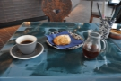 ... and here in the cup on my table. That's a cardomom bun, by the way. Delicious!