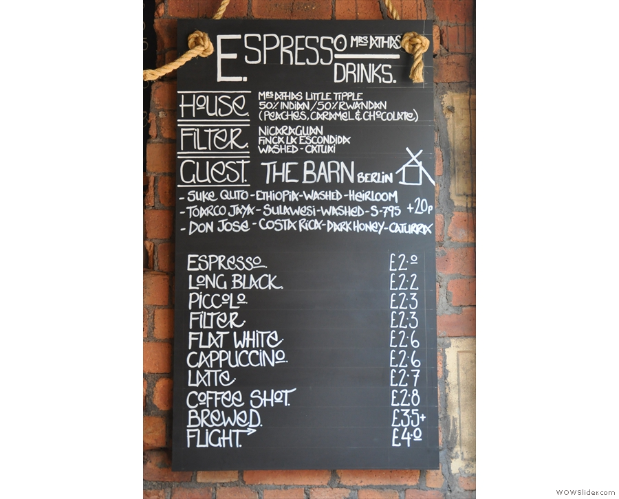 The coffee menu is pretty impressive too...
