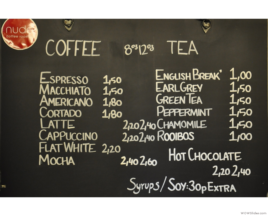 So, to business. There's an impressive espresso-based coffee menu, plus a range of tea.